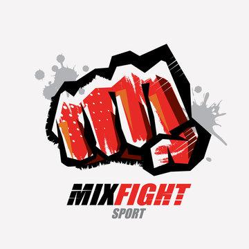 fist symbol, martial arts concept, logo or emblem template