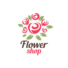 flower shop logo template, stylized vector symbol
