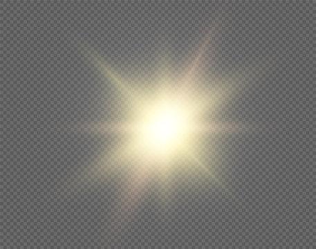 Sun vector background. Sunshine design isolated on transparent backdrop. Round circle yellow graphic element with light bright shine blur effect. Sunrise burst