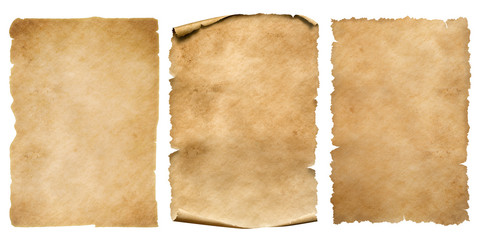Vintage paper or parchment sheets set isolated on white Fototapete
