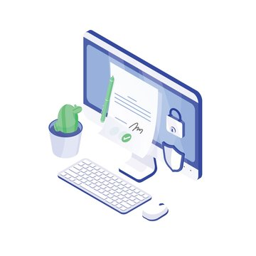 Desktop computer, paper document with signature on it, lock and shield. Electronic signature or e-signature, authenticity confirmation. Secure, safe technology. Modern isometric vector illustration.