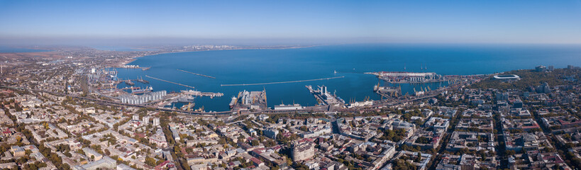 Panorama of the city of Odessa and the sea with a port against a blue sky on a sunny day. Aerial view from the drone Wall mural