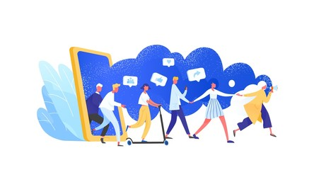 Concept of referral marketing, Refer A Friend loyalty program, promotion method. Group of people or customers holding hands and walking out of giant smartphone. Modern flat vector illustration.