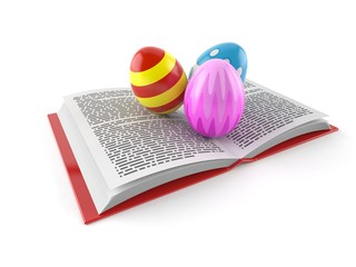 Easter eggs on open book