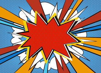 Comic pop art empty, blank speech bubble. Vector explosion with vintage comics cartoon design and place for your text.