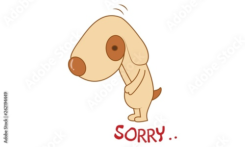 Vector cartoon illustration of cute dog saying sorry  Isolated on