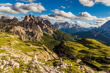 Dolomites mountain landscape view from Tre cimes Lavaredo loop trail