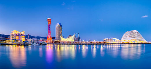 Wall Mural - Port of Kobe skyline at night in Kansai, Japan - Panoramic view