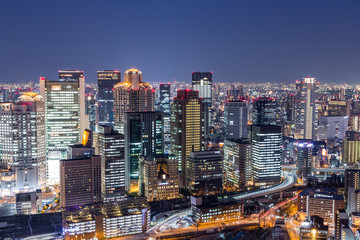 Wall Mural - Osaka downtown skyline from Umeda sky building at night