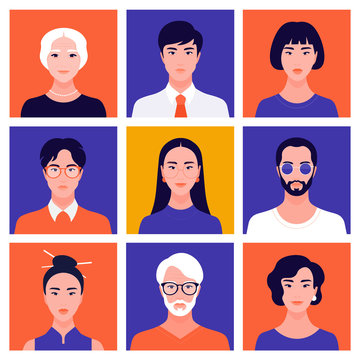 Set of portraits of oriental people of different gender and age. Avatars of women and men. Diversity. Vector flat illustration