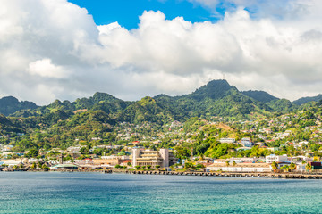 Wall Mural - Port and city of Kingstown, capital of Caribbean island, Saint Vincent and the Grenadines.