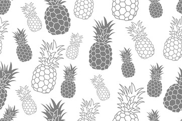 Seamless pattern with pineapple. Vintage pineapple seamless for your business. Vector texture. Black ink pattern