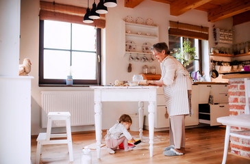 Senior grandmother with small toddler grandchild making cakes at home.
