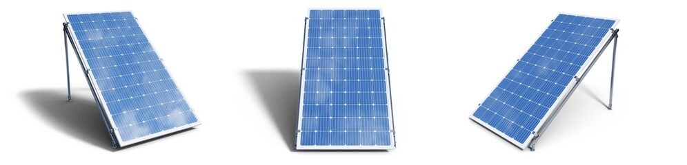 Obraz 3D illustration solar panels isolated on white background. Set solar panels with reflection beautiful blue sky. Concept of renewable energy. Ecological, clean energy. Eco, green energy. Solar cells. - fototapety do salonu