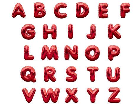 Red alphabet foil party celebration balloons. 3D rendering