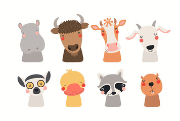 Big set of cute funny animals faces. Isolated objects on white background. Hand drawn vector illustration. Scandinavian style flat design. Concept for children print.