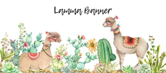Desert Lama banner watercolor