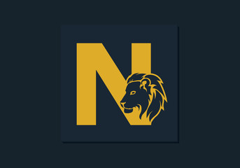Lion head inside letter N. Abstract, creative emblem for logotype, brand identity, company, corporate, entity name. Modern simple luxury template alphabet. Letter Design Vector. Animal concept. EPS