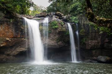 Photos Beautiful Haew Suwat Waterfall in Khao Yai National Park Thailand.