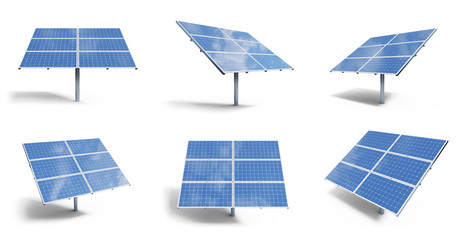 3D illustration solar panels isolated on white background. Set solar panels with reflection beautiful blue sky. Concept of renewable energy. Ecological, clean energy. Eco, green energy. Solar cells.