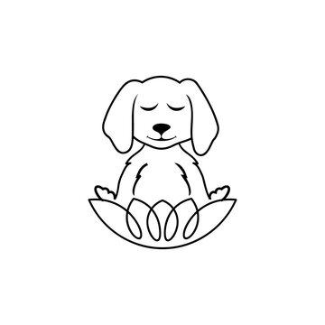 Meditating Dog logo template