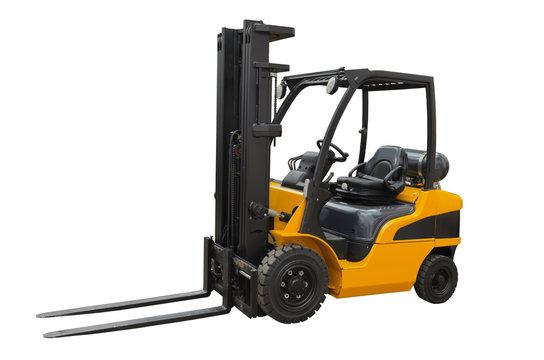 Electric pneumatic forklift isolated on a white background