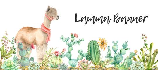 Desert Alpaca banner watercolor