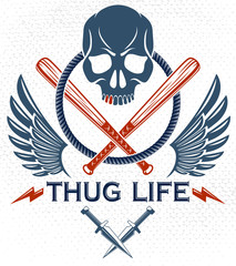 Gang brutal criminal emblem or logo with aggressive skull baseball bats and other weapons and design elements, vector anarchy crime terror retro style, ghetto revolutionary.