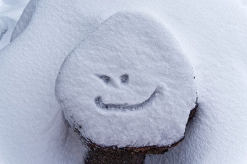 Snow covered tree stump with a smile. Torfhaus, Germany