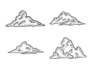 Clouds sketch engraving vector illustration. Scratch board style imitation. Black and white hand drawn image.