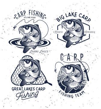 Vintage Carp Fishing Emblems and Labels. . Vector illustration.