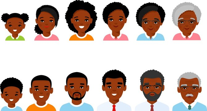 Stages of development people - infancy, childhood, youth, maturity, old age. Set of african american age group avatars male female in colorful style.
