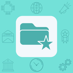 Favorite folder vector icon sign symbol