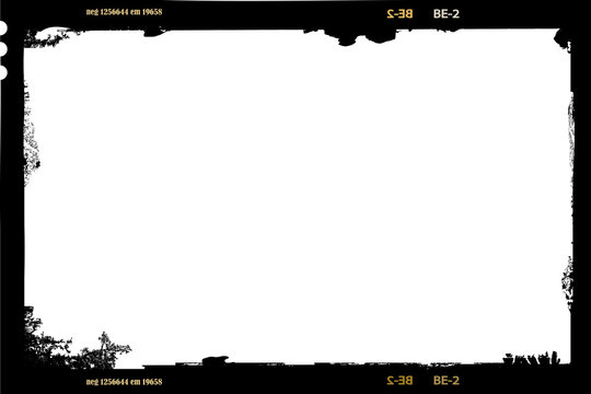 large format film sheet negative, 6 x 9 centimeters, empty grunge style photo frame,vector