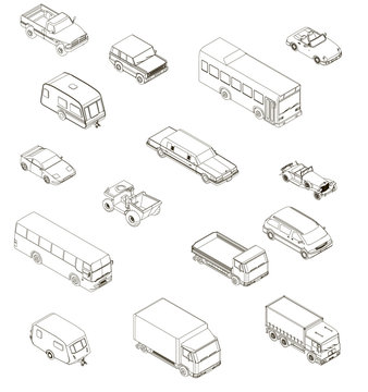 Set with contours of different cars in isometric. Vector illustration