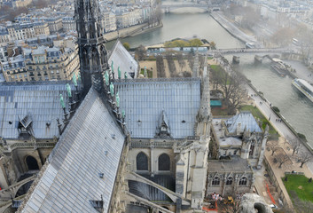 Spire of Notre Dame Cathedral, aerial view from the landmark top - Paris, France
