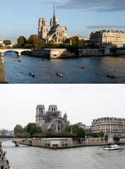 A combination picture shows views of Notre-Dame Cathedral before (Top), and after a massive fire devastated large parts of the gothic structure in Paris