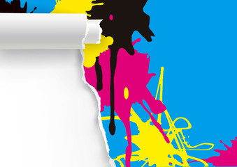 Ripped paper background  with colorful splashes of CMYK print colors.  Illustration of colorful torn paper background. Template for presenting of color printing. Vector available.