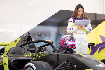 Marta Garcia studies a map of the track during a media day ahead of the inaugural season of the women-only racing series 'W Series' at the Lausitzring in Schipkau