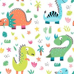 Fototapete - Cartoon dinosaurs pattern for kids