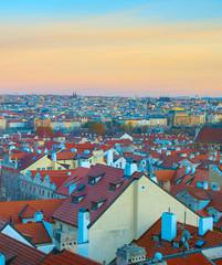 Fototapete - Skyline of Prague twilight Czech