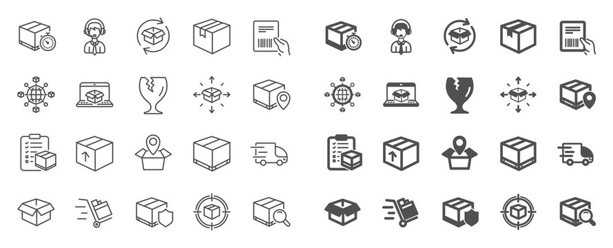 Logistics, Shipping document line icons. Set of Truck Delivery, Box and Checklist icons. Parcel tracking shipping, World trade logistics. Location pin, Goods parcel insurance and document. Vector