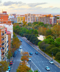 Fototapete - Skyline Valencia road  architecture Spain