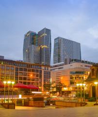 Fototapete - Evening cityscape of Frankfurt  downtown