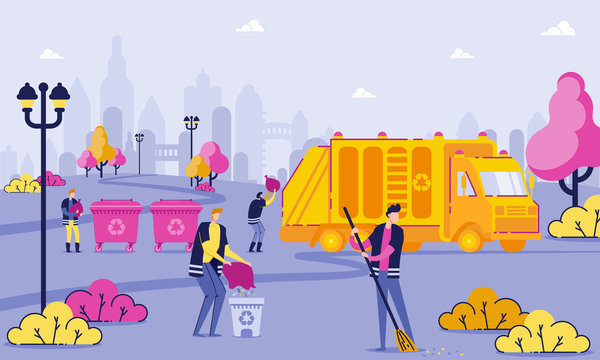 Garbage Collection Workers Clean Park Cartoon Flat