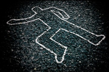 Crime Scene with Body Outline Chalk Drawing on Asphalt Ground, Selective Focus.