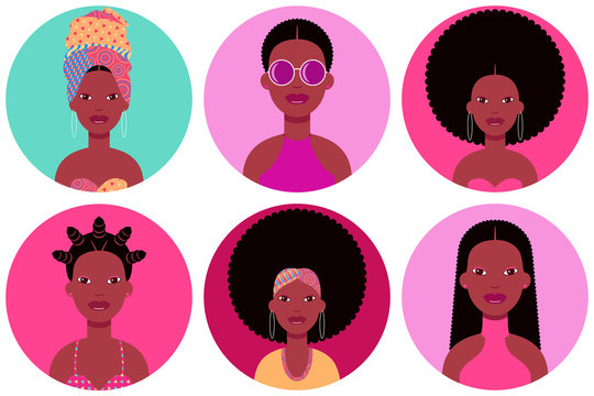 Set of six young black women round flat icons in different clothes and hairstyles. Six circle vector avatars of black female fashion