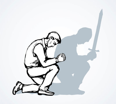 Vector image of the praying person