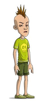 Cartoon funny standing punk boy character with mohawk and skull on shirt. Isolated on white background. Vector icon.