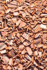 Background of Damaged Roof Tiles / Heap close up of broken red tiles texture